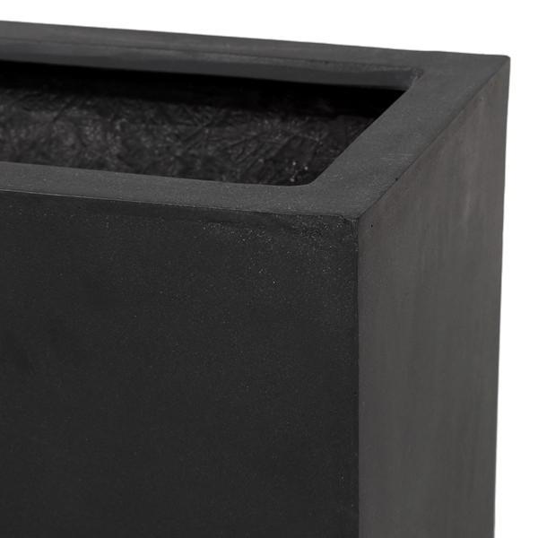 Bac Pour Fleur Cube Haut Interieur Exterieur H 60x30cm Noir Fiberstone
