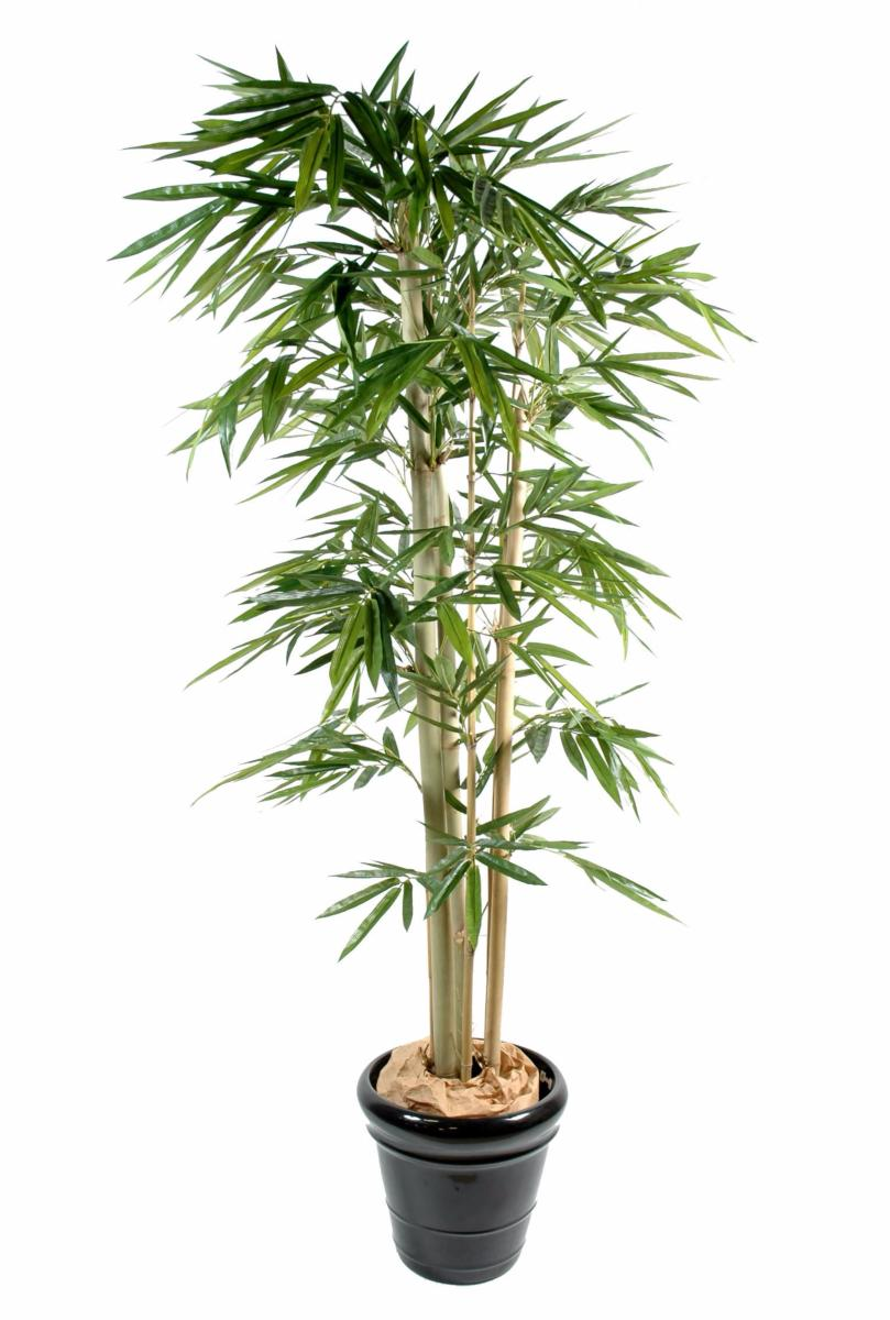 Bambou artificiel 3 cannes feuille large int rieur h for Arbre artificiel exterieur pas cher