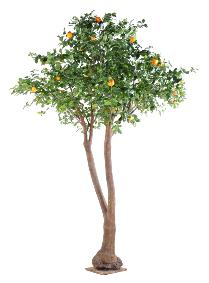 Arbre artificiel fruitier Oranger double - intérieur - H.340cm vert orange