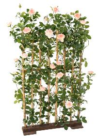 Palissade artificielle Rosier royal - structure en bois naturel - H.160 cm rose