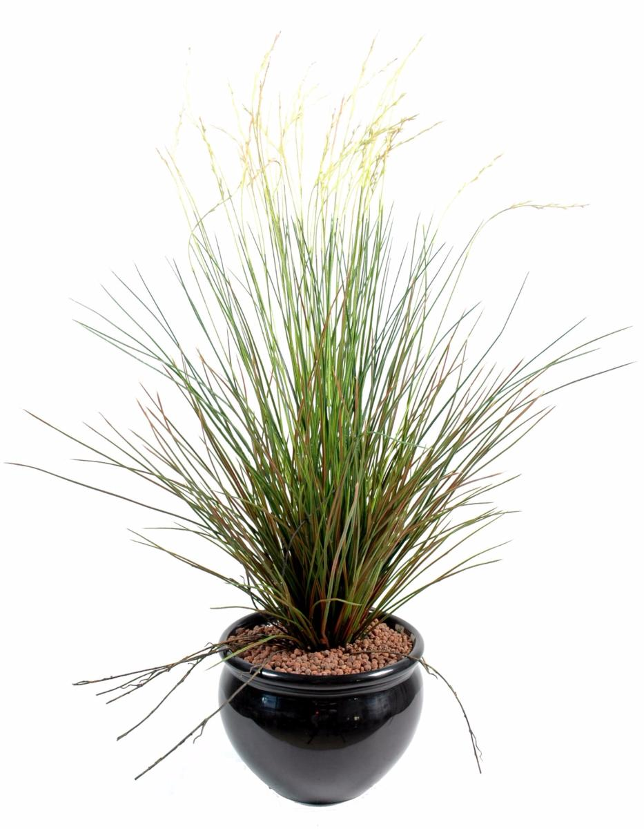 Plante artificielle gramin e touffe en pot int rieur for Plantes fleuries exterieur en pot