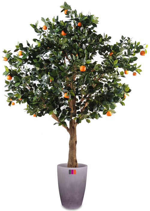 Arbre artificiel fruitier oranger int rieur cm vert orange - Arbre fruitier en pot ...