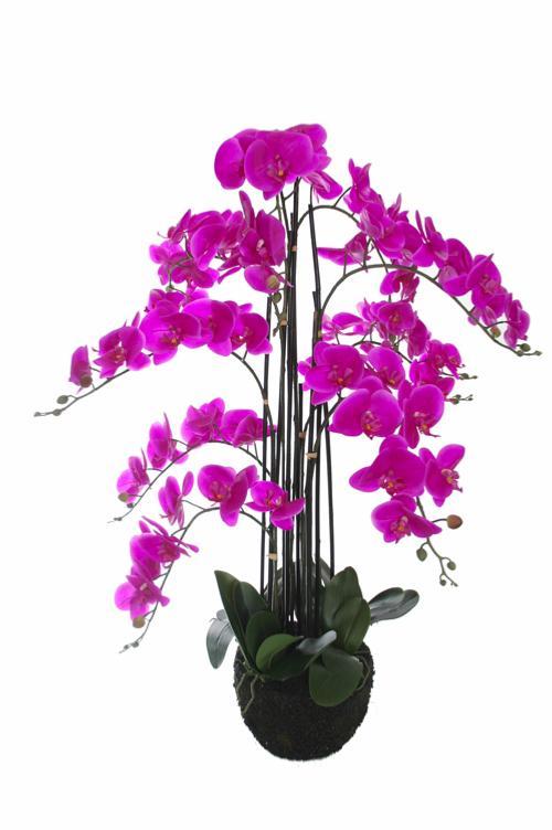 Plante artificielle orchid e en pot pour int rieur 110 cm fuchsia - Plantes fleuries en pot ...