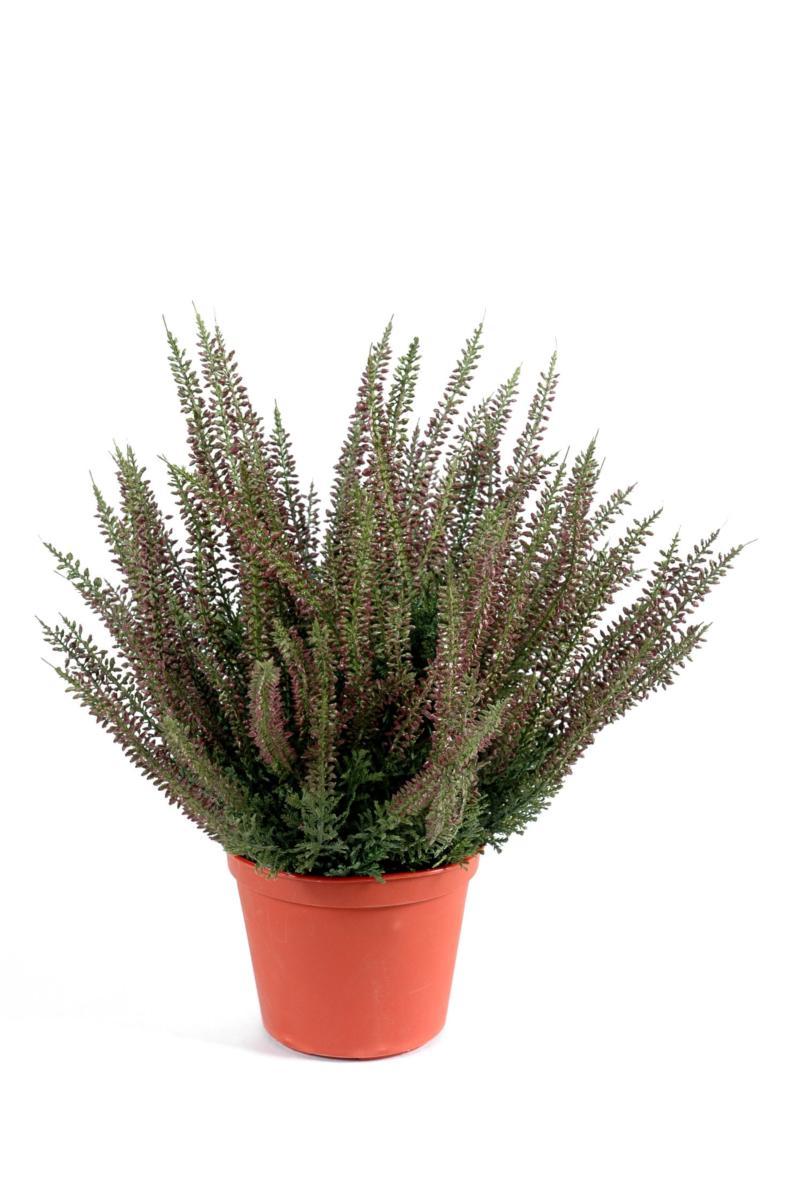 Plante artificielle Fleurie Bruyère plastique en pot - intérieur extérieur - H. 35cm rose