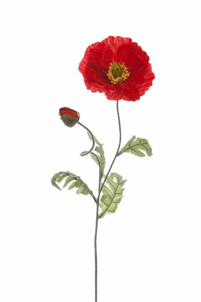 fleur artificielle et bouton de coquelicot int rieur h 73 cm rouge. Black Bedroom Furniture Sets. Home Design Ideas