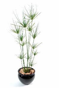 plante artificielle papyrus ornemental plastique en pot int rieur ext rieur h 140cm vert. Black Bedroom Furniture Sets. Home Design Ideas