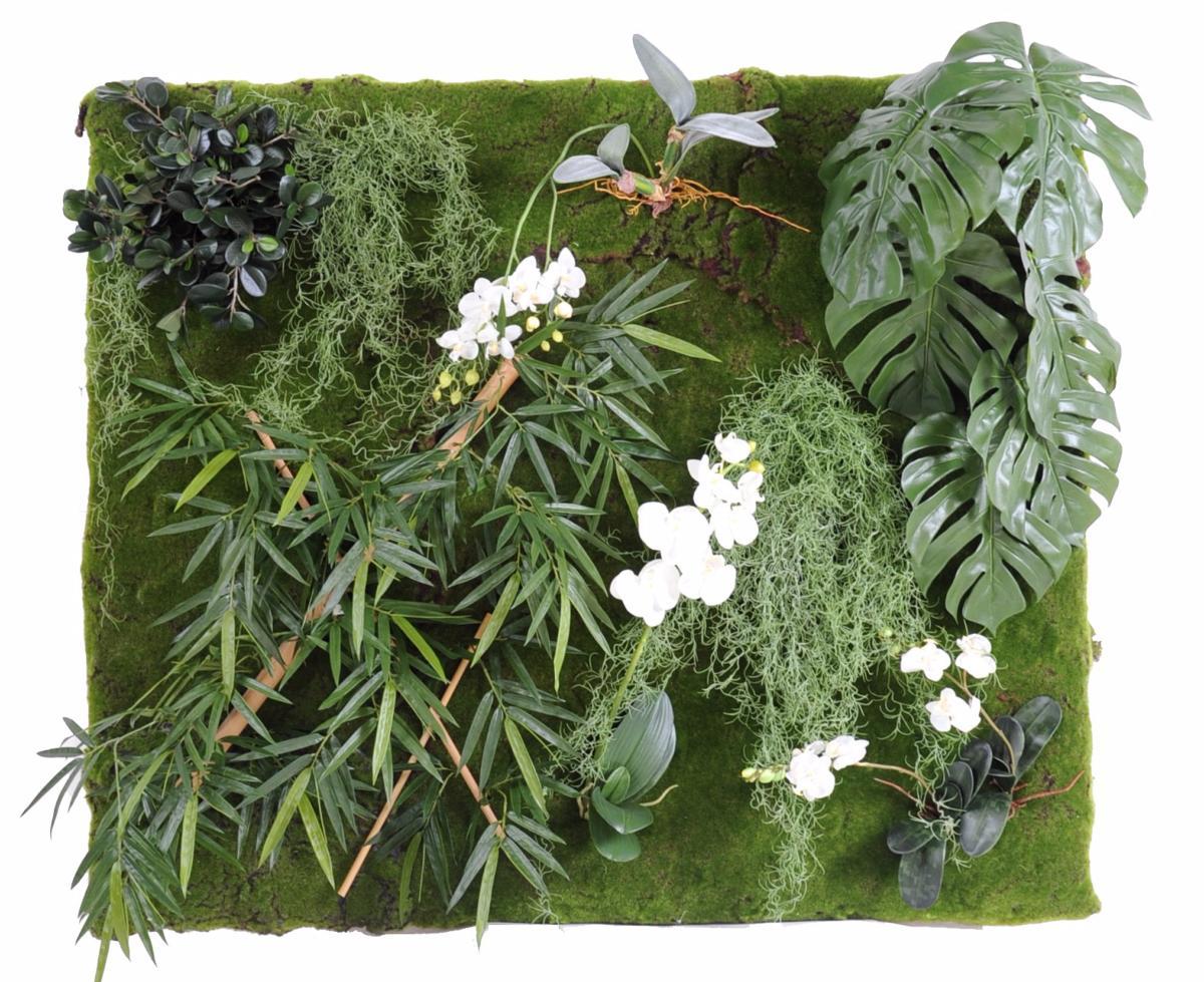 mur v g tal artificiel orchid e philodendron bambou d coration murale h 130 x 110 cm vert blanc. Black Bedroom Furniture Sets. Home Design Ideas