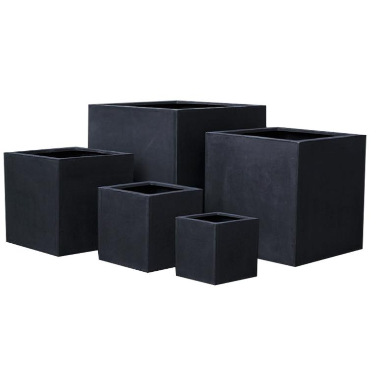pot pour fleur bac cube int rieur ext rieur noir fiberstone. Black Bedroom Furniture Sets. Home Design Ideas