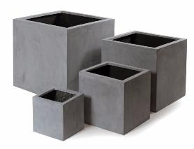 bac pour fleur cube ext rieur gris b ton polystone. Black Bedroom Furniture Sets. Home Design Ideas