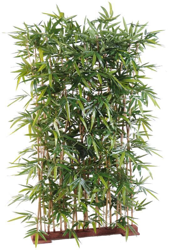 Haie En Bois De Bambou : de bambou Feuillage : Tergal Socle en Bois : longueur 75cm largeur