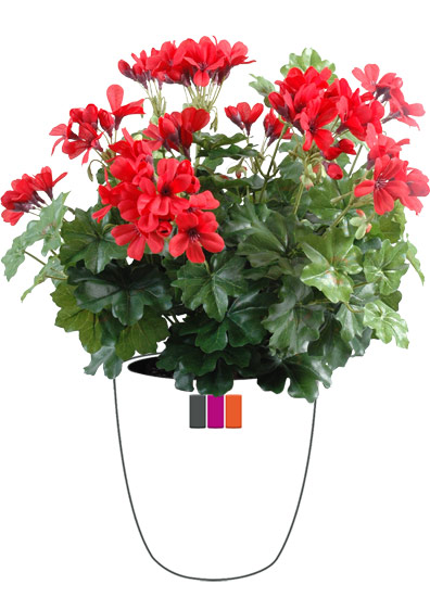 plante fleurie artificielle g ranium lierre en piquet 35cm rouge. Black Bedroom Furniture Sets. Home Design Ideas