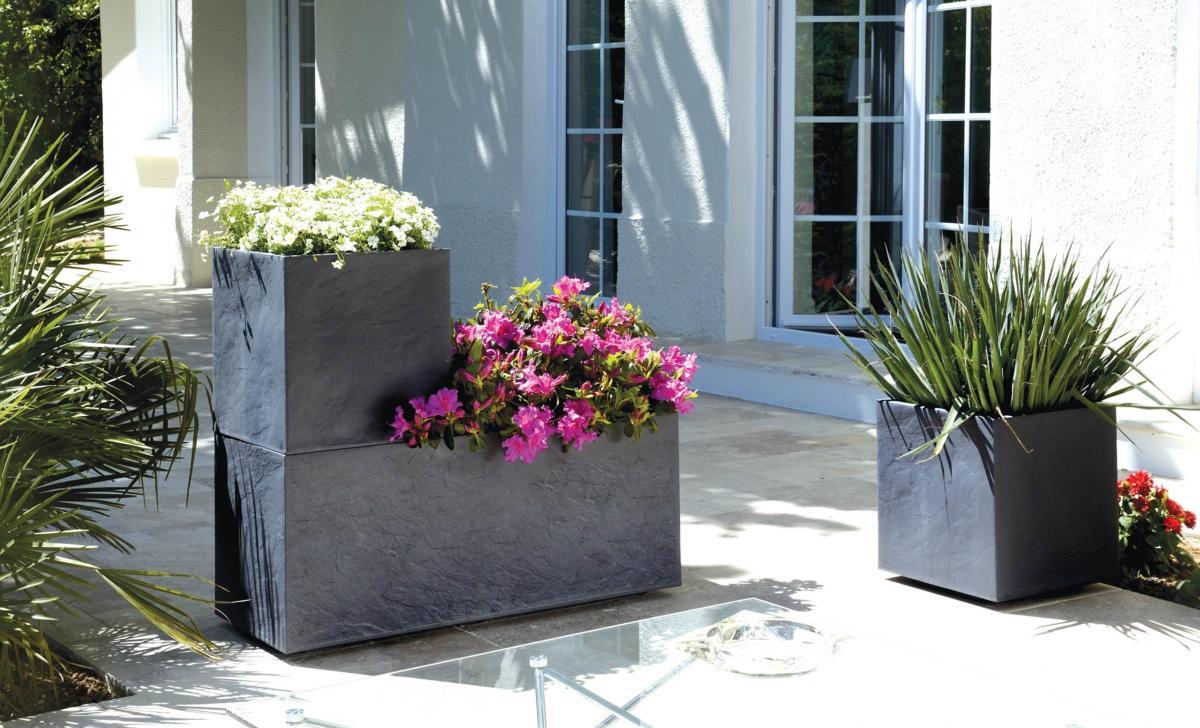 bac pour fleur carr volcania int rieur ext rieur balcon h. Black Bedroom Furniture Sets. Home Design Ideas