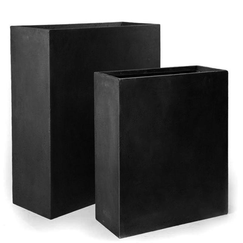 bac pour fleur muret int rieur ext rieur balcon x noir fiberstone. Black Bedroom Furniture Sets. Home Design Ideas