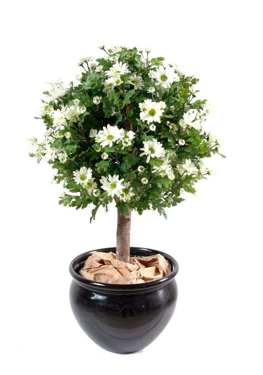 Plante artificielle fleurie anth mis boule en pot for Plantes fleuries exterieur en pot