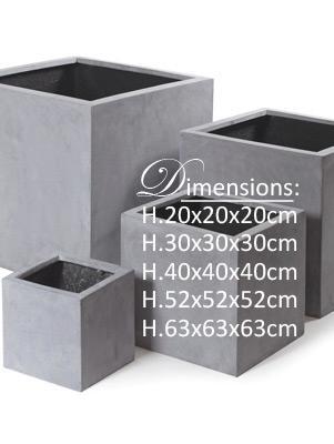 Bac pour fleur cube extérieur H.40cm gris béton Polystone