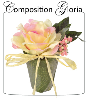 Composition florale artificielle Gloria 18cm ivoire Santex